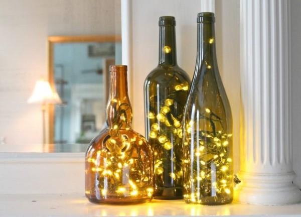 diy weihnachtsdekoration ideen lichterketten weinflaschen