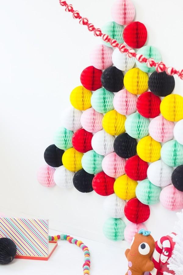 diy weihnachtsdekoration ideen origami weihnachtsbaum farbig kreativ