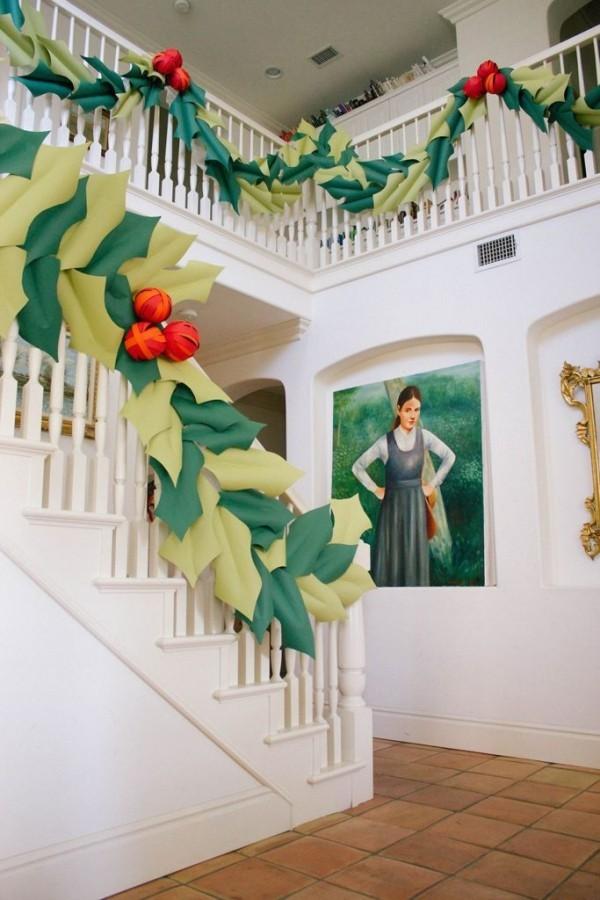 diy weihnachtsdekoration ideen papier flur festlich dekorieren