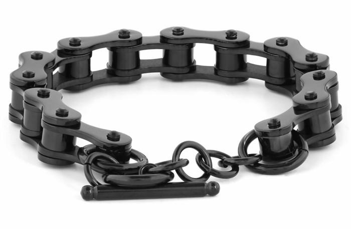 fahrradkette herren armband aus stahl schwarz