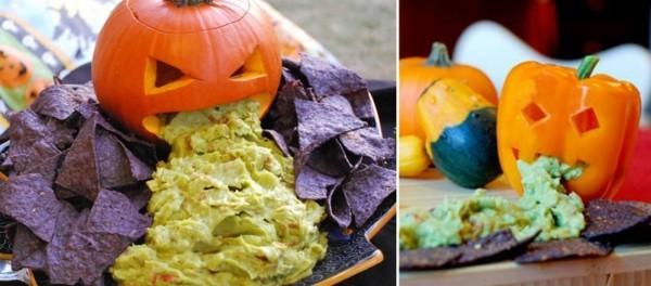 fingerfood halloween essen ideen mit kürbis und guacamole
