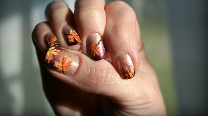 fingernägel design herbst schöne herbstfarben