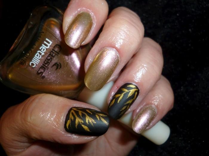 fingernägel design herbst schwarz golden