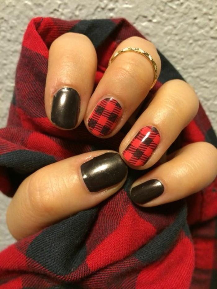 fingernägel design herbst schwarz rot elegant