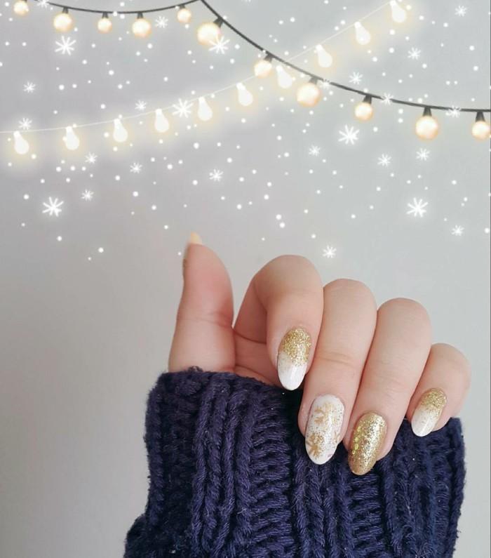 fingernägel design herbst weiß golden