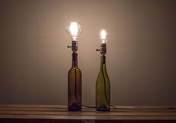 flaschenlampe selber bauen mit gluehbirnen