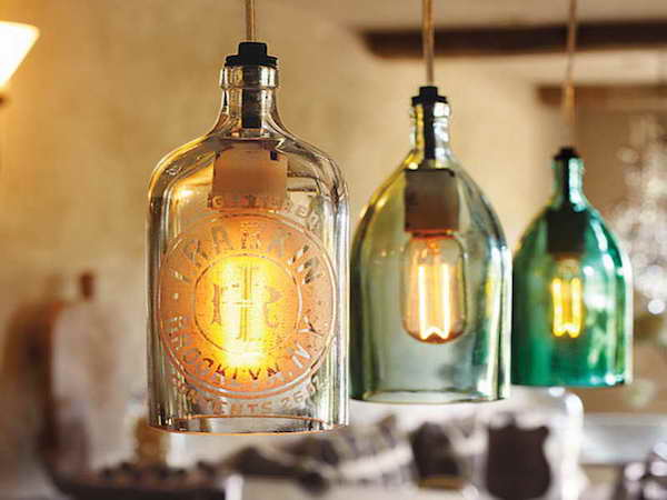 flaschenlampen haengelampen aus glasflaschen selber bauen