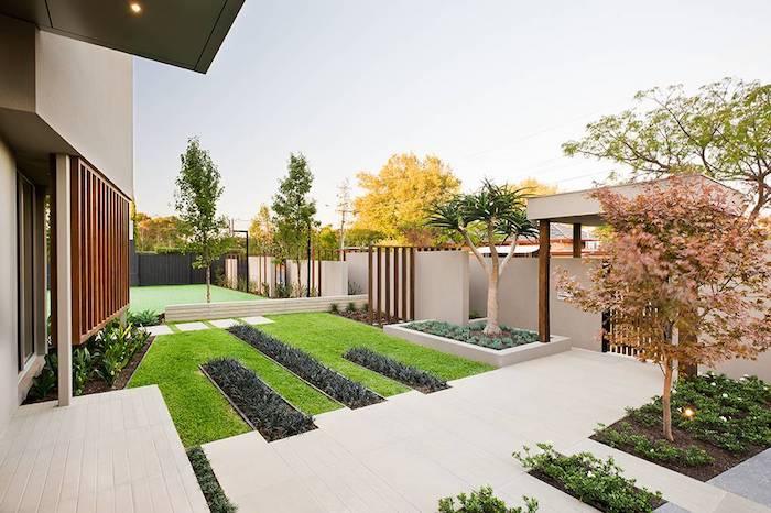 gartenarchitektur minimalistisch lineare struktur