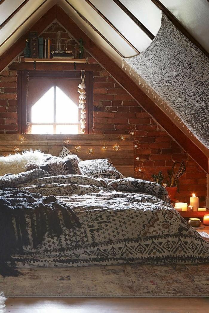 gemütliches schlafzimmer boho stil kerzen muster