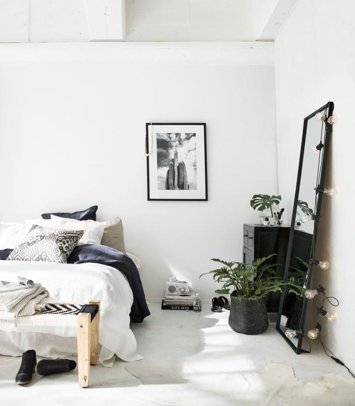 gemütliches schlafzimmer helles ambiente lichterkette teppich