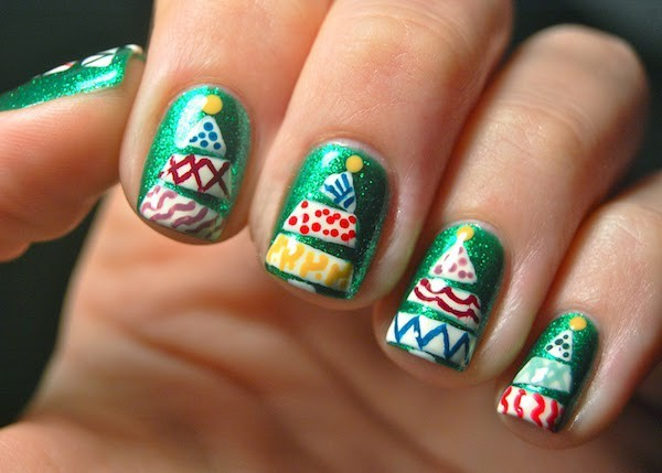 grüne basis tannenbäumer weihnachts Nägel