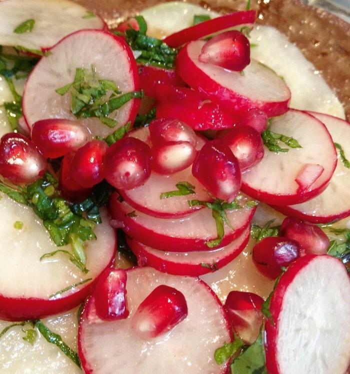 granatapfel essen rezept mit raddischen