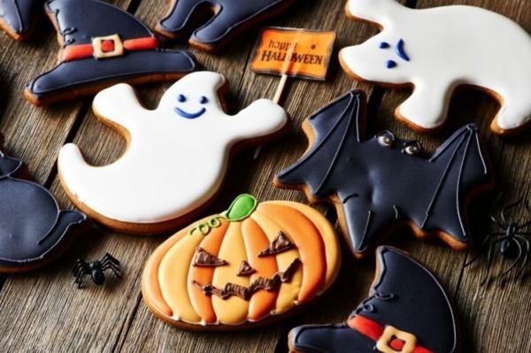 halloween kekse ideen kürbiss gespenster fledermäuse