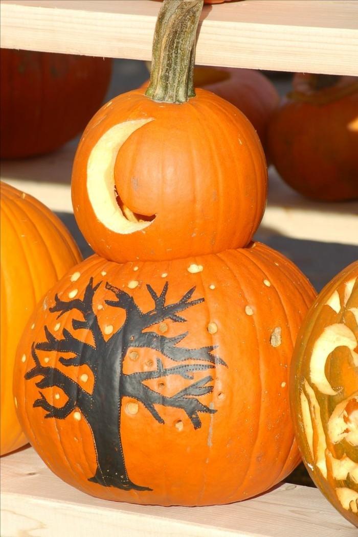 halloween kuerbis schnitzen dekoration für innen oder außen