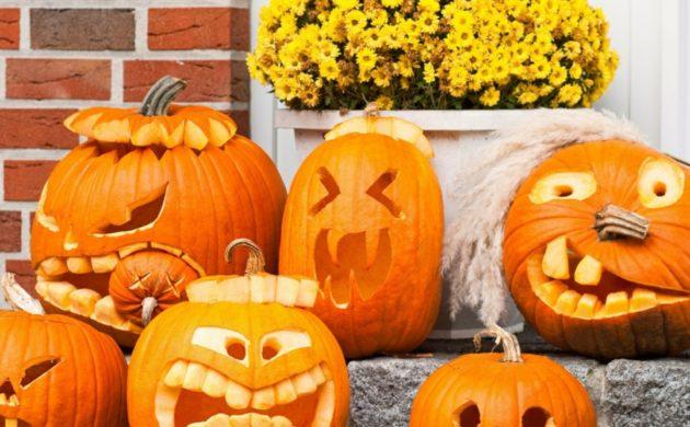 Halloween kürbis schnitzen einen gruseligen
