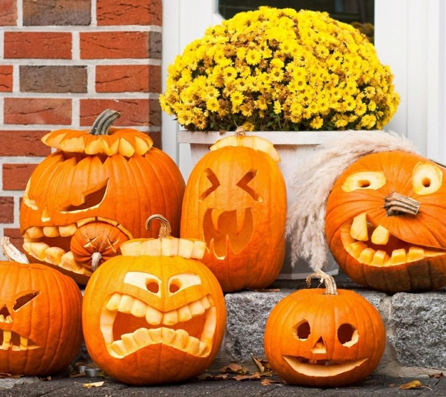 halloween kuerbis schnitzen ideen vielfaeltige kürbisgesichter