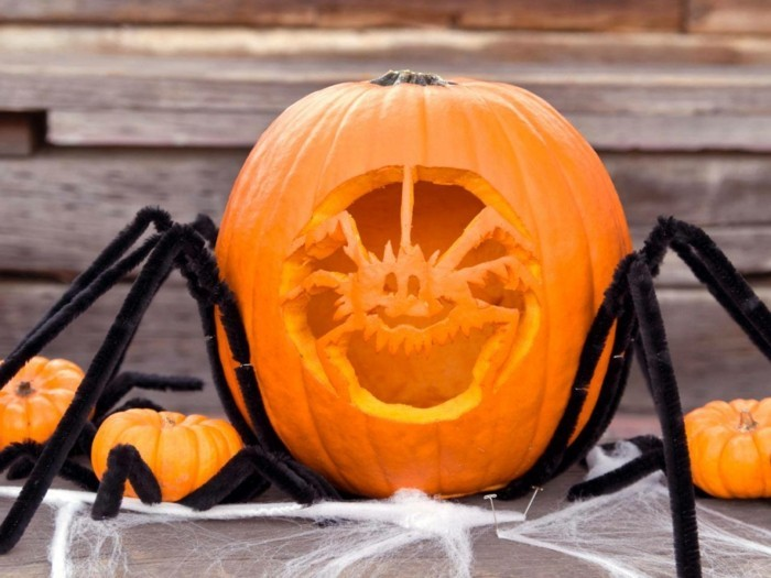 halloween kuerbis schnitzen kreative ideen spinne selber machen