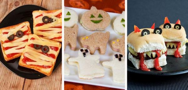 halloween snacks ideen mit brot und kaese