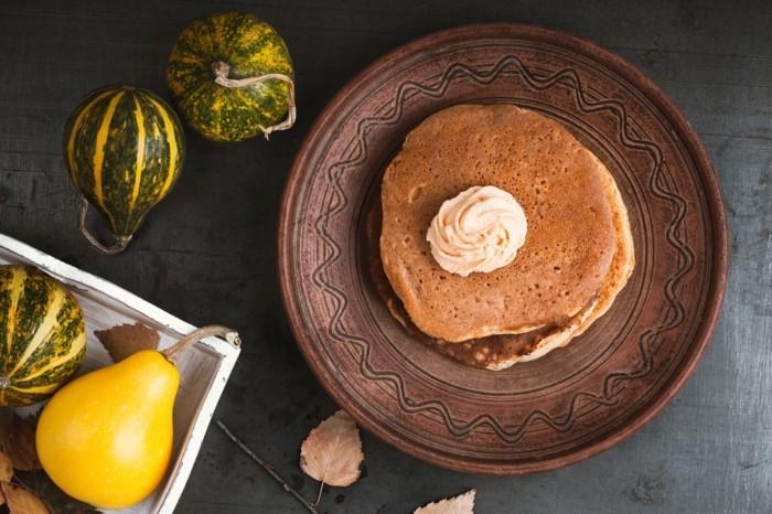 herbst rezepte kuerbispfannkuchen sahne mini kuerbisse