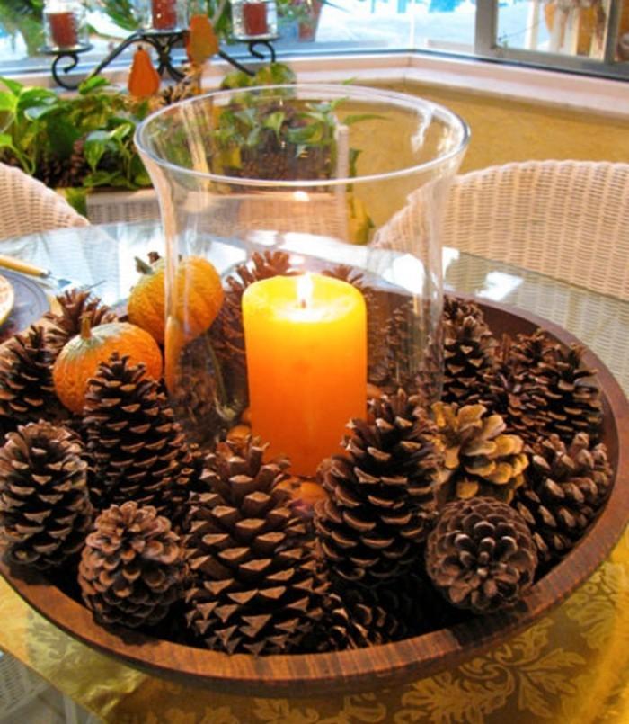 herbstdeko winterdeko basteln mit tannenzapfen kamin weihnachtsdeko gemuetliche
