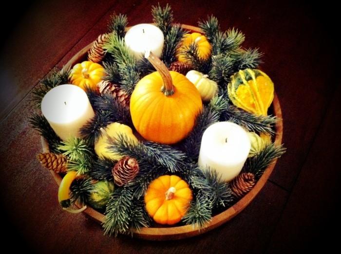 herbstdeko winterdeko basteln mit tannenzapfen kamin weihnachtsdeko mit kuerbis