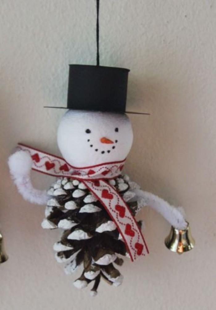herbstdeko winterdeko basteln mit tannenzapfen kamin weihnachtsdeko schneemann