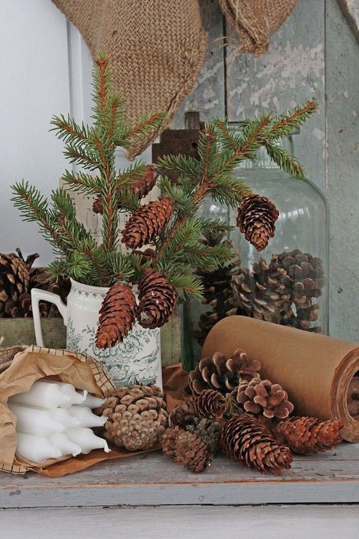 herbstdeko winterdeko basteln mit tannenzapfen kamin weihnachtsdeko stilvoll