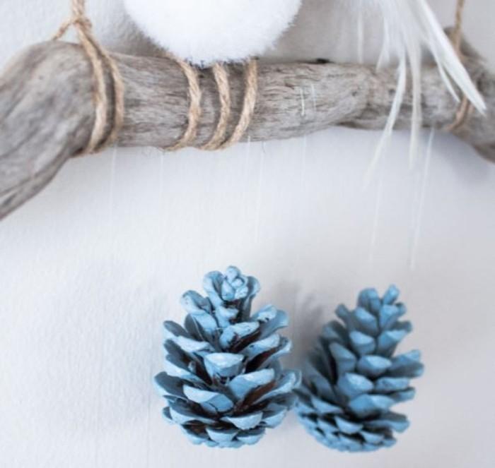 herbstdeko winterdeko basteln tuerkranz blau