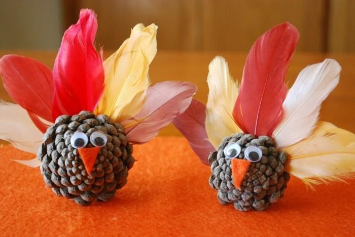 herbstdeko winterdeko basteln tuerkranz vogel
