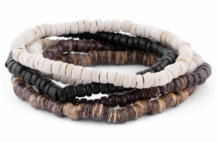 herren armbänder naturmaterialien perlen steine kokos