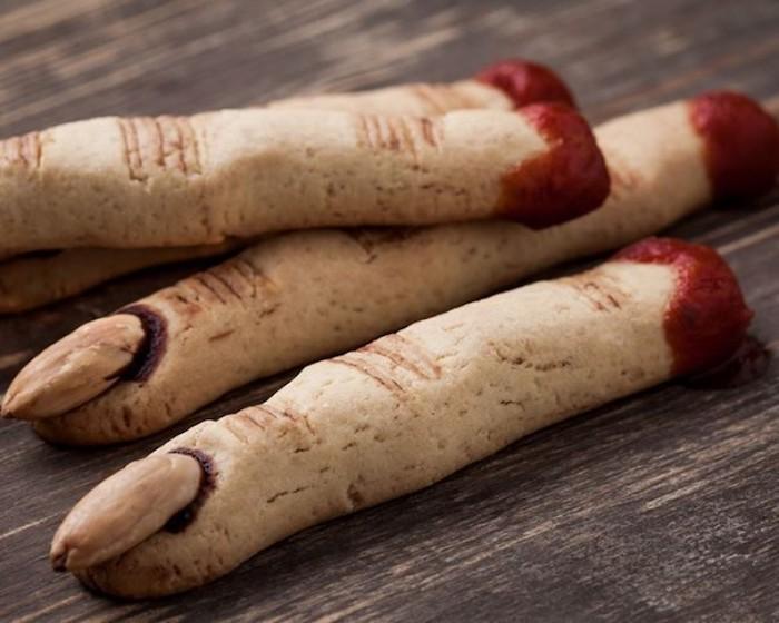 hexenfinger backen mit mandeln aus teig halloween rezepte