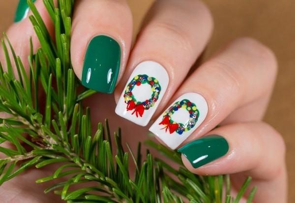 ideen grün weiß ideen wehnachtliche winternägel