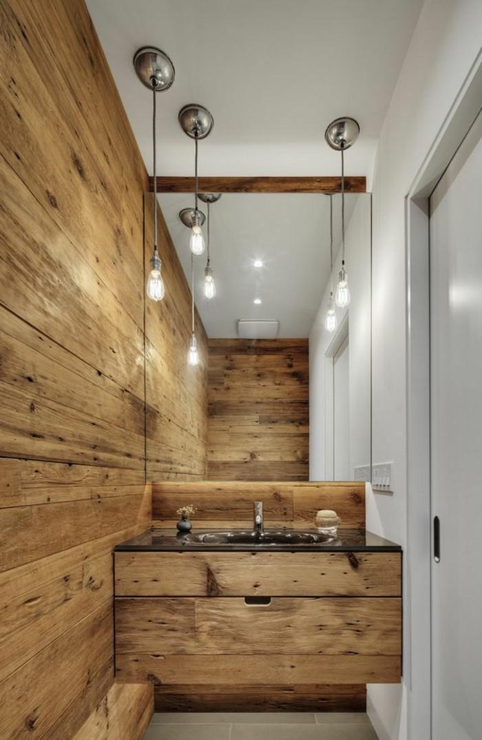 ideen zu rustikale holzwaende badezimmer wandverkleidung mit holz