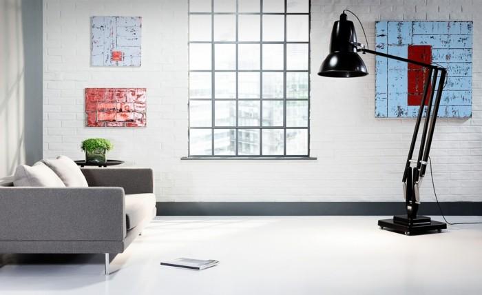 industrielampe im wohnzimmer schwarze stehlampe