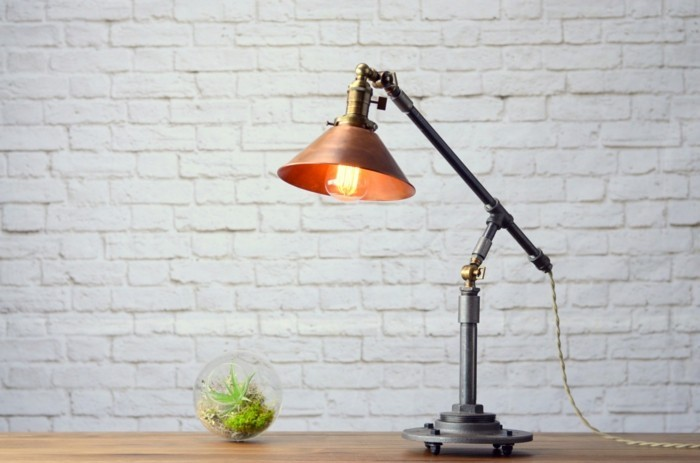industrielampe kombination von materialien tischlampe
