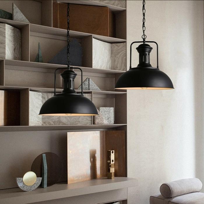 industrielampe vintage schwarz wohnzimmer beleuchten