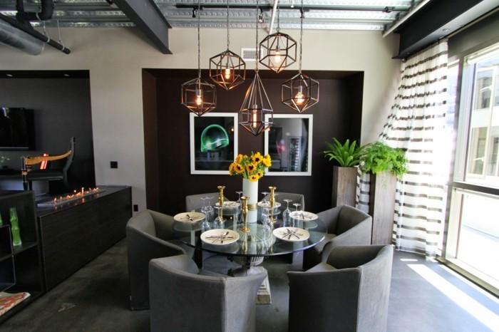 industrielampe wohnzimmer essbereich beleuchten