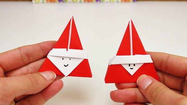 kleine nikoläuse basteln aus papier origami weihnachten