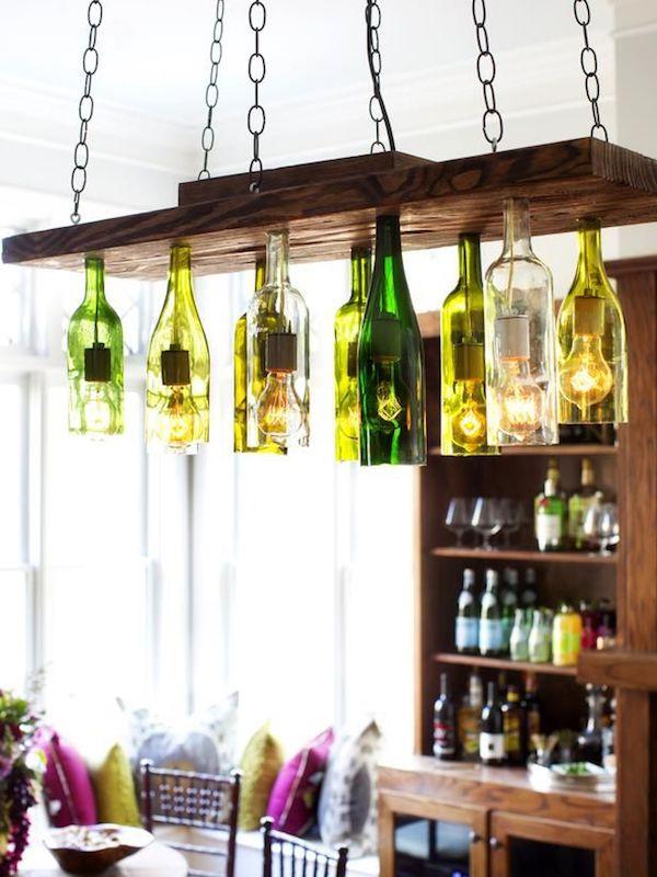 kronleuchter aus glasflaschen mit ketten selber bauen
