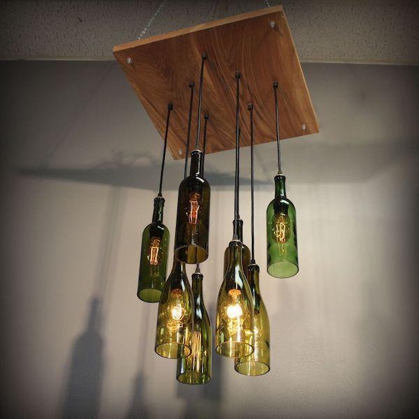 kronleuchter selber bauen aus weinflaschen flaschenlampe