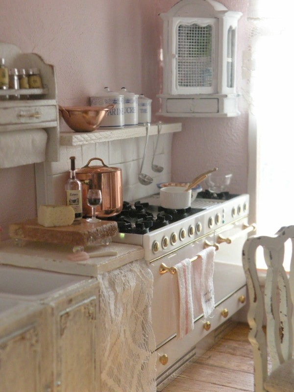 kueche shabby chic helle einrichtung holzboden
