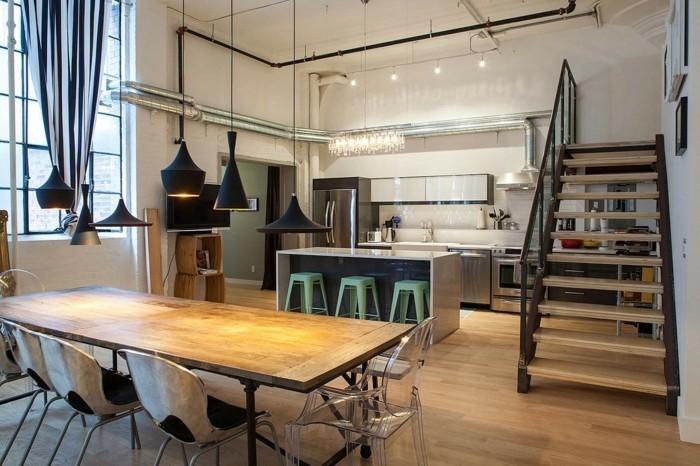 lampen design industriell küche beleuchten