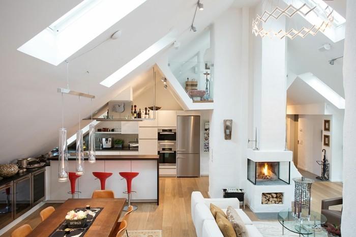 möbel für dachschräge moderne offene küche