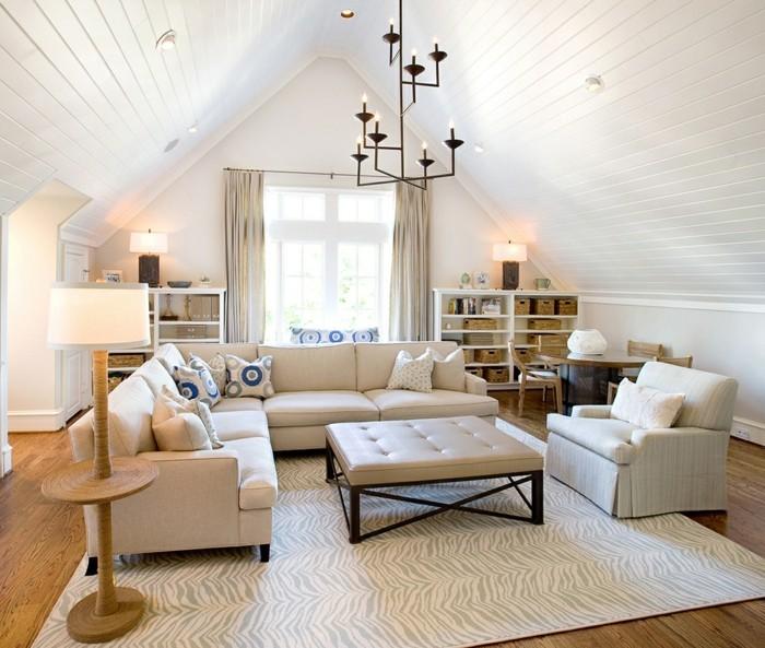 möbel für dachschräge wohnzimmer auf kleiner fläche gestalten