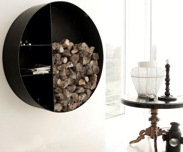 moderne Brennholz ideen Lagerung Innenraum