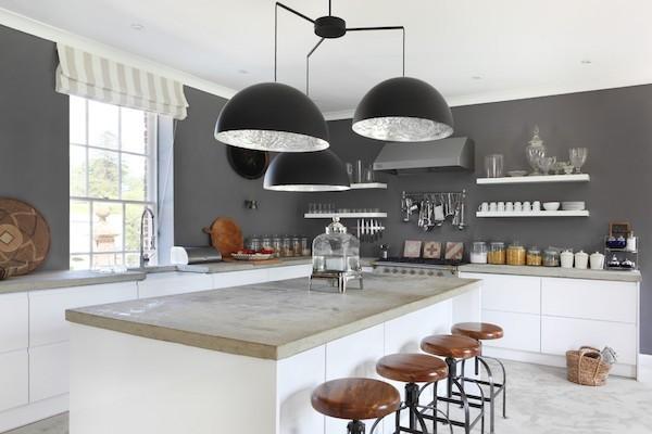 moderne Küche Küchenarbeitsplatte aus Beton industriell