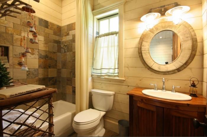 moderne wandgestaltung badezimmer runder wandspiegel
