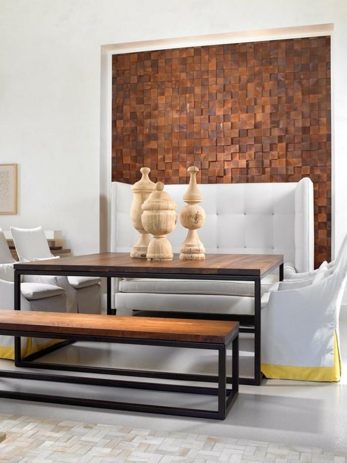 moderne wandgestaltung hölzerne akzentwand cooler teppich