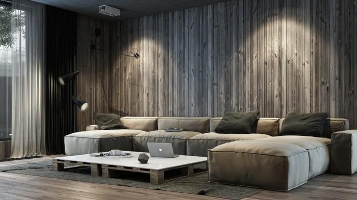 moderne wandgestaltung hölzerne wandpaneele wohnzimmer
