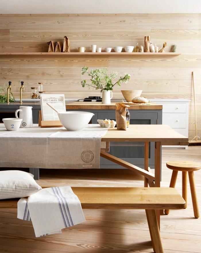 moderne wandgestaltung helles holz große küche